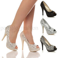 WOMENS LADIES WEDDING EVENING BRIDAL PROM HIGH HEEL DIAMANTE PLATFORM SHOES SIZE