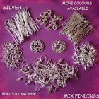 SILVER JEWELLERY KIT EYEPINS HEADPINS CLASPS EARWIRES CRIMP BEADS JUMPRINGS ETC