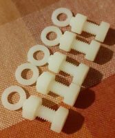 6mm x 16mm NYLON PLASTIC HEXAGON BOLTS M6 BOLTS + NUTS AND WASHERS NEW PACK OF 5