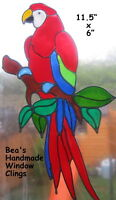 BEA'S RED MACAW PARROT WINDOW CLINGS MIRROR TILE CONSERVATORY DECORATIONS