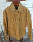VTG 1970s Clipper Club Mustard Vinyl Coat size Large Snap Button Jacket