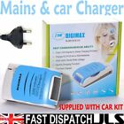 Mains LCD Fast 1 Hour Battery Charger AA & AAA Car lead EU lead