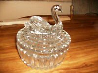 "Clear Crystal Swan Jewelry or Dresser Box 4 & 1/2"" in diameter and 2&1/2"" tall"
