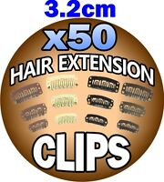 3.2cm 32mm Brown Hair Extension Snap Clips Weft Wig Grips Medium Remy