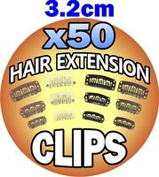 3.2cm 32mm Light Brown Hair Extension Snap Clips Weft Wig Grips Medium Remy