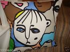 "16"" NEW CUSHION COVER IKEA FACES RETRO VINTAGE FUNKY RED BLACK YELLOW GREEN BLUE"
