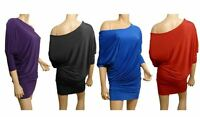New Off/One Shoulder Batwing  Dress Top Size 10 - 20 (Red)