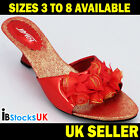 Ladies Women Mid High Heels Sandals Beach Summer Shoes Size 3 4 5 6 7 8 Red D