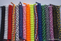 Childs curly elastic coil shoelaces for kids shoe  ^50 colours Multi-buy savings