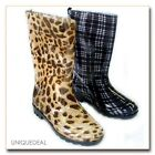 NEW WOMEN RAIN BOOTS TEXTILE LINING LIGHT WEIGHT FLEXIBLE SOLE WITH PRINTS-1108