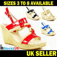 Ladies Womens High Heels Wedge Sandals Beach Summer Shoes Size 3 4 5 6 7 8 (MD1)