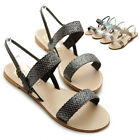 NEW Womens Shoes Glitter Double Strap Slingback Strappy Gladiator Flat Sandals
