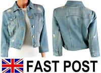 NEW LUXURY SEXY DENIM JACKET LADIES CROP CROPPED WOMENS  8 10 12 14 16 18