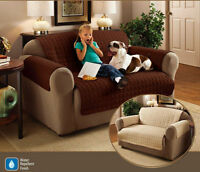 FURNITURE PROTECTOR QUILTED SOFA SETTEE ARM CHAIR COVER THROW CREAM BROWN COLOUR