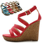 New Womens Shoes Wedge High Heels Platforms Open Toe Pumps Multi Colored Sandal