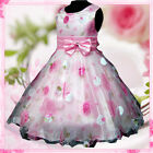 UK 3211FULL Pink X'mas Wedding Party Summer Flower Girls Dress Sz 3,4,5,6,7,8 Y