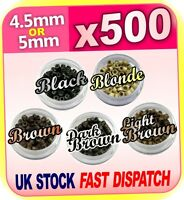 500x 4.5mm 5mm Silicone Lined Micro Rings Beads Loops Hair Clips Hair Extensions