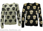 NEW LADIES WOMENS SKULL PRINT LONG SLEEVE KNITTED JUMPER TOP ONE SIZE 8-14
