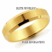 5MM WIDE MENS 18K YELLOW GOLD WEDDING BANDS RING SIZES 4-13 ~FREE ENGRAVING~NEW