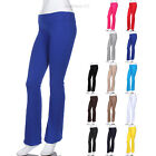 Cotton Fold Over Waistband Full Length Long Athletic Fitness Yoga Pants Comfort