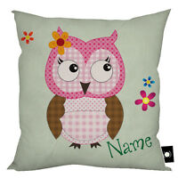 """PERSONALISED CUTE OWL DESIGN MINT VIBRANT GIFT CUSHION HOME DECOR 18"""" X 18"""""""