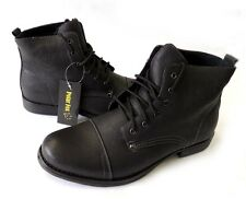 NEW MENS ANKLE BOOTS MILITARY COMBAT STYLE LEATHER LINED SHOES LACE UP/ BLACK