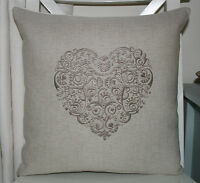 Laura Ashley Natural Austin Cushion Cover with Natural Lace Heart Embroidery