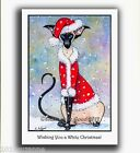 NEW LARGE GLITTERY SANTA SIAMESE CAT IN SNOW CHRISTMAS CARD BY SUZANNE LE GOOD