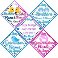 Personalised Baby On Board Car Signs - Brother, Sister, Grandson & Granddaughter