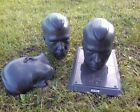 MANY Halloween Prop Male Mannequin Head plastic creepy skull lot lawn black/grey