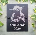 Yoda Starwars Personalised Slate Artwork Door Shed House Number Plaque Sign