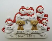 Personalized Snowman Family of 5 w/ 2 Dogs Christmas Ornament