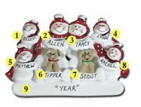 Personalized Snowman Family of 6 w/ 2 Dogs Christmas Ornament