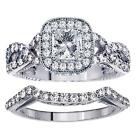 1.98 Princess Cut Diamond Engagement Bridal Set in Braided Setting in Platinum