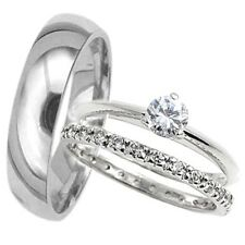 His Hers 3 pcs Mens & Womans TITANIUM & STAINLESS STEEL wedding bridal ring set