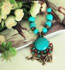 Bohemia Style Brass Bell Crystall Wood Bead Long Blue Necklace T-shirt