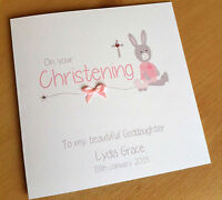 Handmade Personalised Christening Card for a Boy or Girl