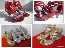 New Girls Party High Heels Dress Shoes, Gold & Silver. Many Sizes.