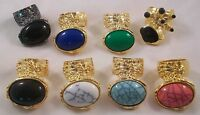 Trendy Blogger ARTY Moon Oval Stone Gunmetal Gold Rings 6 7 8 9 10 + Lot Deals