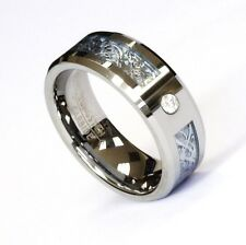 8Mm Silver Celtic Dragon Cz Blue Tungsten Carbide Ring Men Jewelry Wedding Band