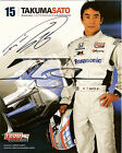 2012 TAKUMA SATO signed INDIANAPOLIS 500 PHOTO CARD POSTCARD IZOD INDY CAR HONDA