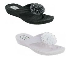 Ladies Womens Beach Casual Summer Wedge Flip Flop Toe Post Sparkly Sandals Size