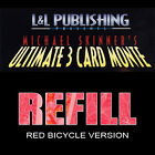 Refill Cards for 3 Card Monte (Red) deck of playing cards magic trick
