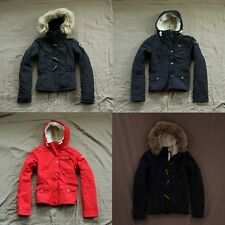 Abercrombie & Fitch Hooded Toggle/Sherpa Lined Jacket Coat Faux Fur Navy/Red NWT