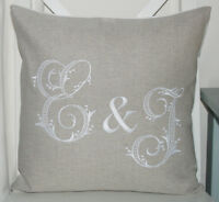 Personalised Monogram Laura Ashley Natural Austin Cushion Cover Embroidered