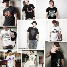 New Fashion Men's Casual T-shirt Short Sleeves Cool White Black T-shirts Summer