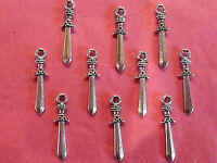 Tibetan Silver Sword #2 Charms 10 per pack  knights/pirate theme