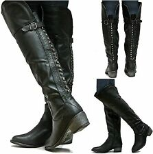 New Womens SRh15 Black Studded Riding Over Knee High Boots Sz 5.5 to 11