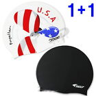 2pcs Silicone Swimming Head Caps - USA flag propeller image black color Swim Cap