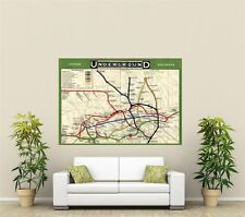Vintage London Underground Tube Map  Giant 1 Piece  Wall Art Poster O134